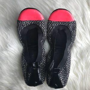 Yosi Samra Hot Pink & Tweed Foldable Ballet Flats
